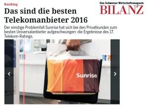 Sunrise et Netplus pulvérisent Swisscom, selon le Telecom Rating 2016 de Bilanz….