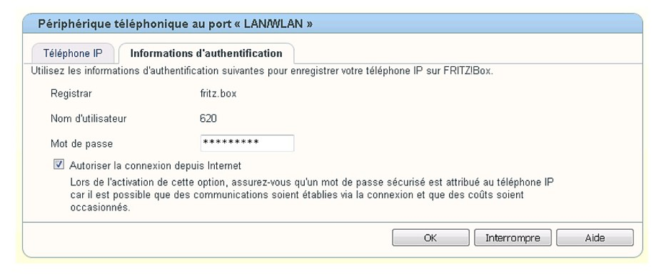Ce réglage apparaît comme suit sur votre modem: Autoriser la connexion depuis Internet: case cochée