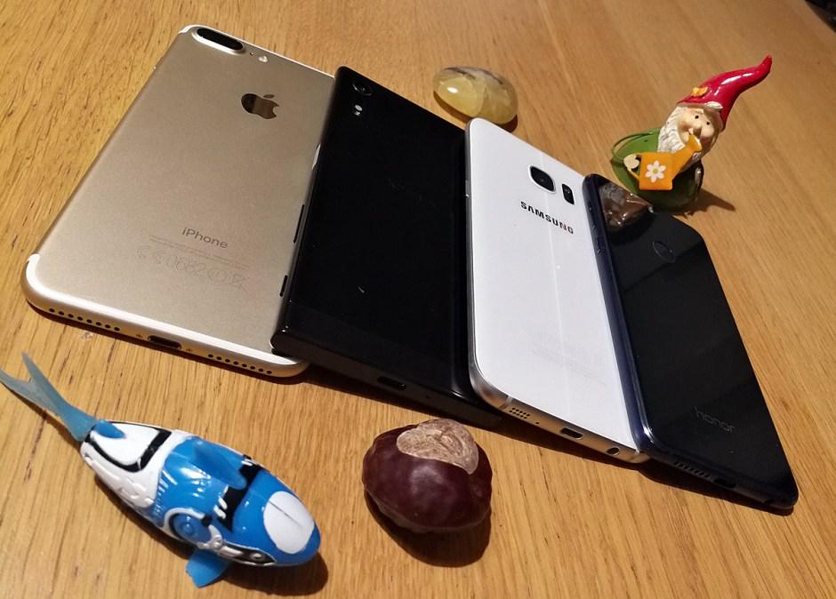 Apple iPhone 7 Plus vs Sony Xperia XZ vs Samsung Galaxy S7 Edge vs Honor 8.