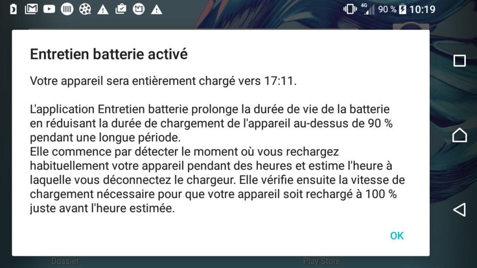 Le mode d'entretien des batteries sur les Sony Xperia, basé sur la technologie Qnovo.