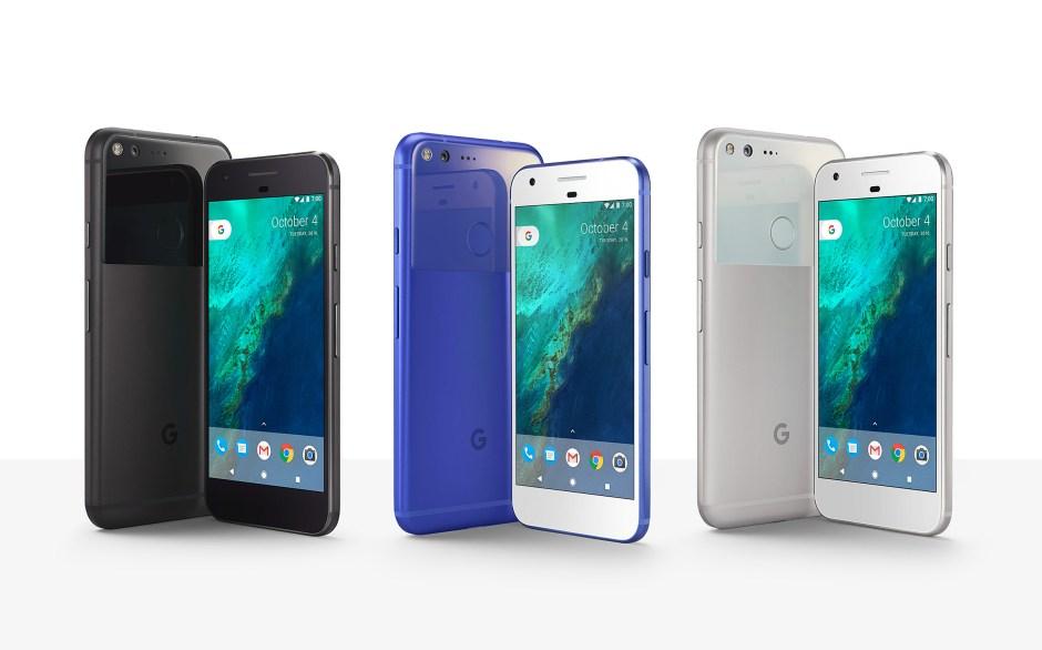 "Pixel, ""Phone by Google"" existe en bleu, noir et blanc."
