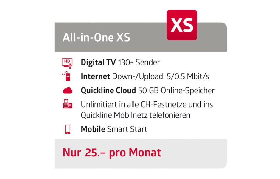 Quickline All-In-One XS à 25 francs par mois.