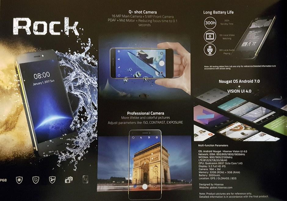Hisense Rock: extrait de la fiche technique.