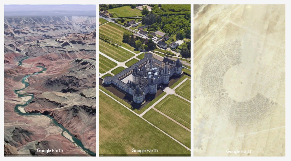 Postcards from Earth: Grand Canyon, Château de Chambord, Burning Man