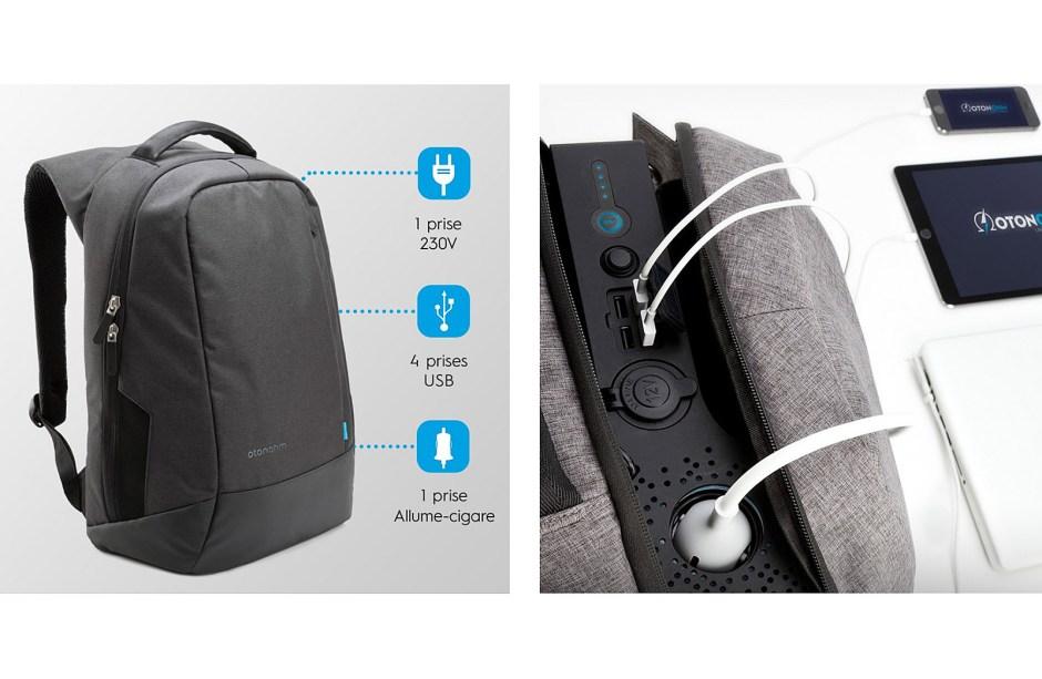 Otonohm propose un sac à dos équipé d'une prise secteur 230V, en plus de 4 prises USB et d'une prise allume-cigare.