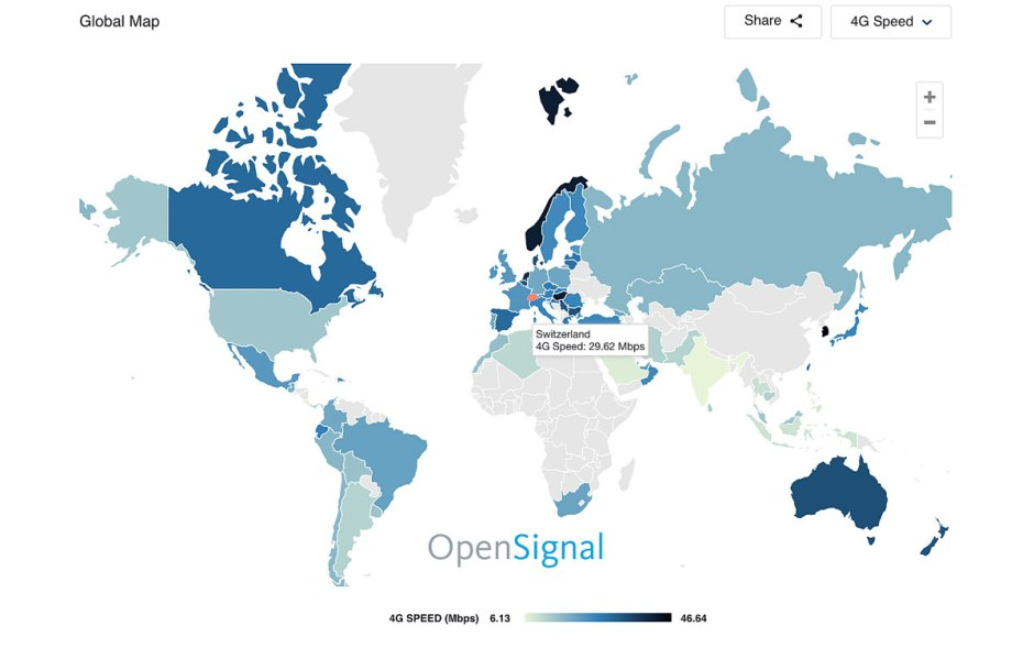La 4G au niveau mondial: plus de 50 milliards de mesures effectuées par les smartphones de près de 4 millions d'utilisateurs.