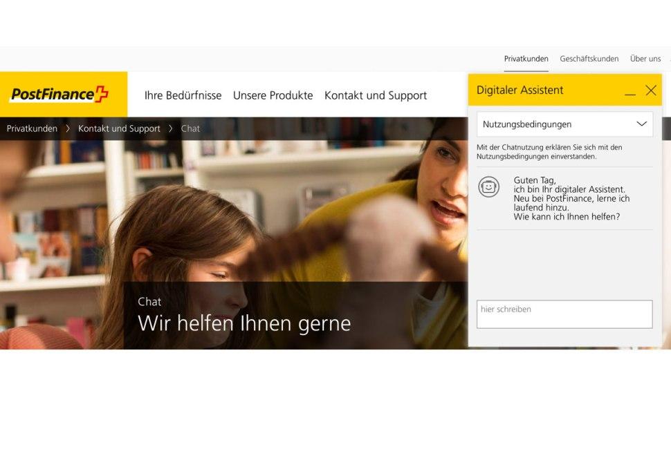 PostFinance lance un assistant virtuel en allemand.