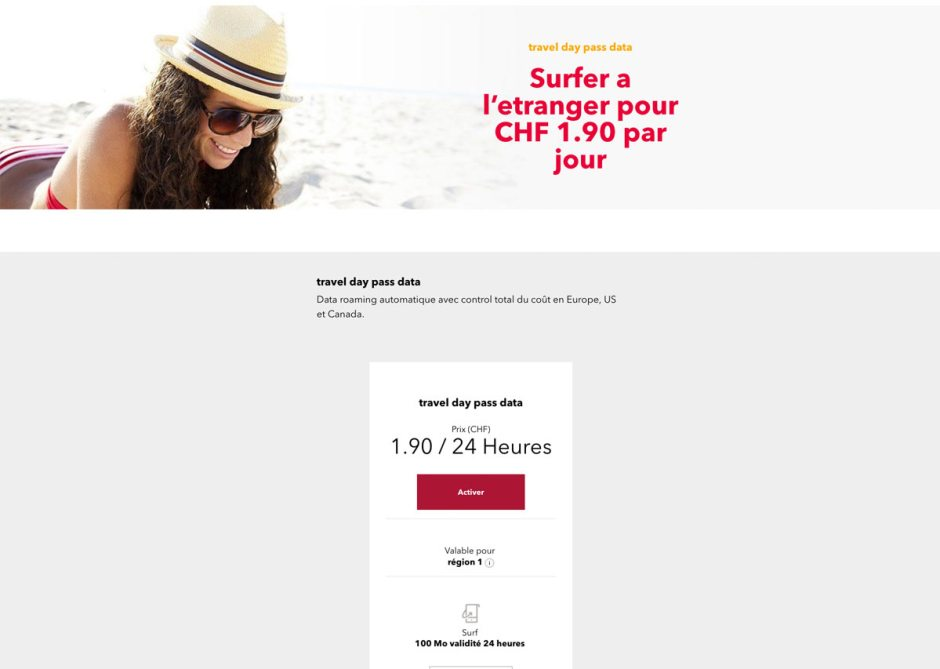 Avec Travel day pass data, Sunrise propose 100Mo pour 1,90 franc/24 heures dans 46 pays.