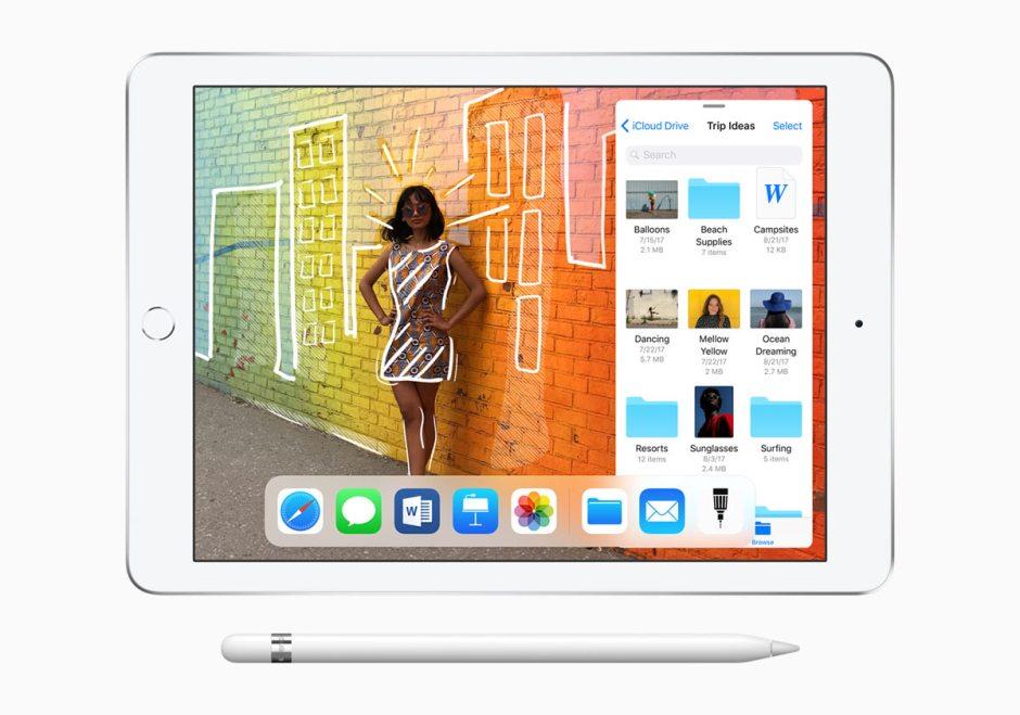 Le nouvel iPad 9,7 pouces basé sur la puce A 10 Fusion et l'Apple Pencil.
