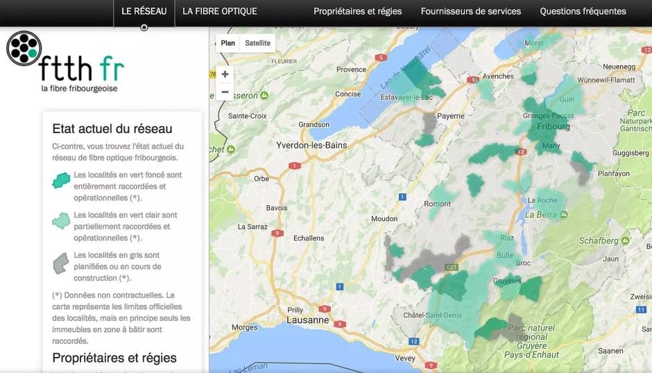 La carte du déploiement de la fibre optique dans le canton de Fribourg.