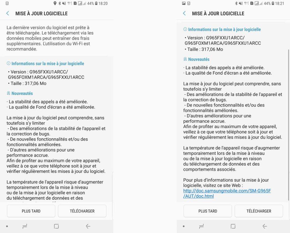 Nouvelle mise à jour pour le Samsung Galaxy S9+.