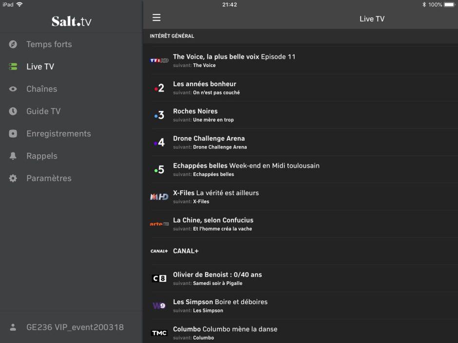 La liste des chaînes sur Salt TV.