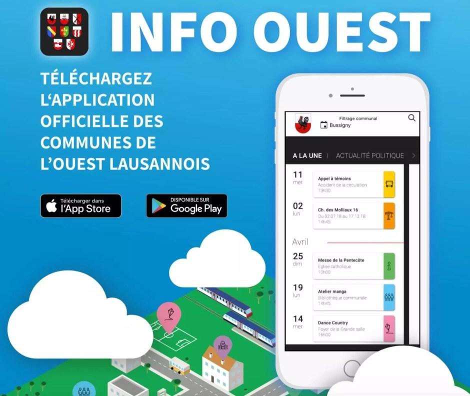 «Info Ouest», l'application des communes de Bussigny, Chavannes-près-Renens, Crissier, Ecublens, Prilly, Renens, Saint-Sulpice et Villars-Sainte-Croix.