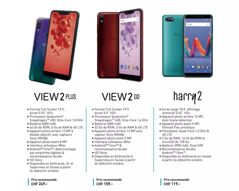 Les fiches techniques des Wiko View 2 Plus, View 2 Go et Harry 2.