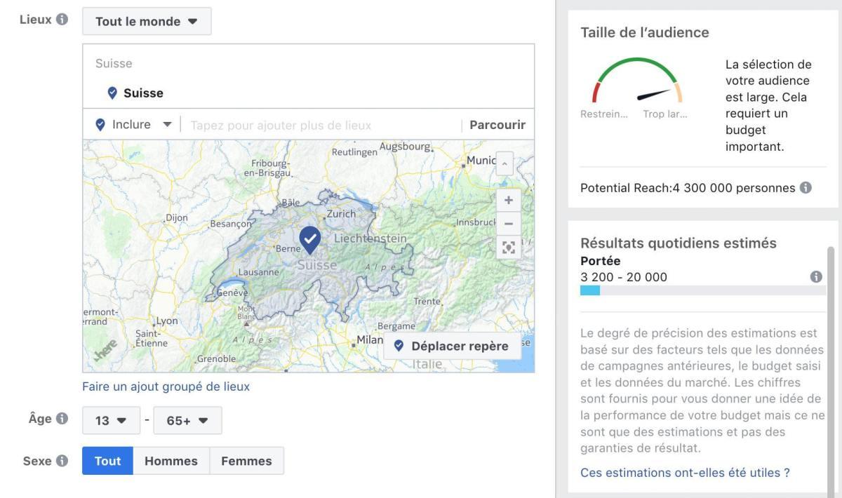 Au 1er novembre 2018, Facebook revendiquait 4,3 millions de comptes en Suisse, selon cette capture d'écran tirée de sa régie publicitaire.
