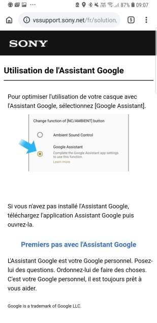 Sony WH-1000X M3: les options de Google Assistant.