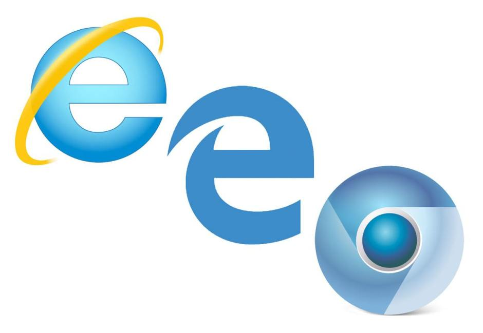 Les logos d'Internet Explorer, Edge et Chromium.