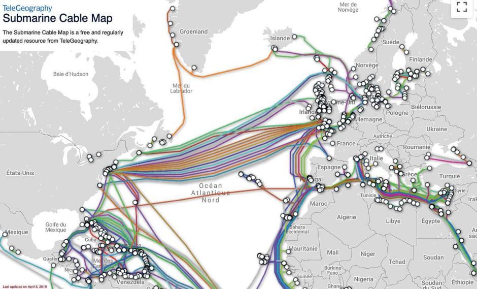 Une carte des câbles sous-marins proposée par TeleGeoography.