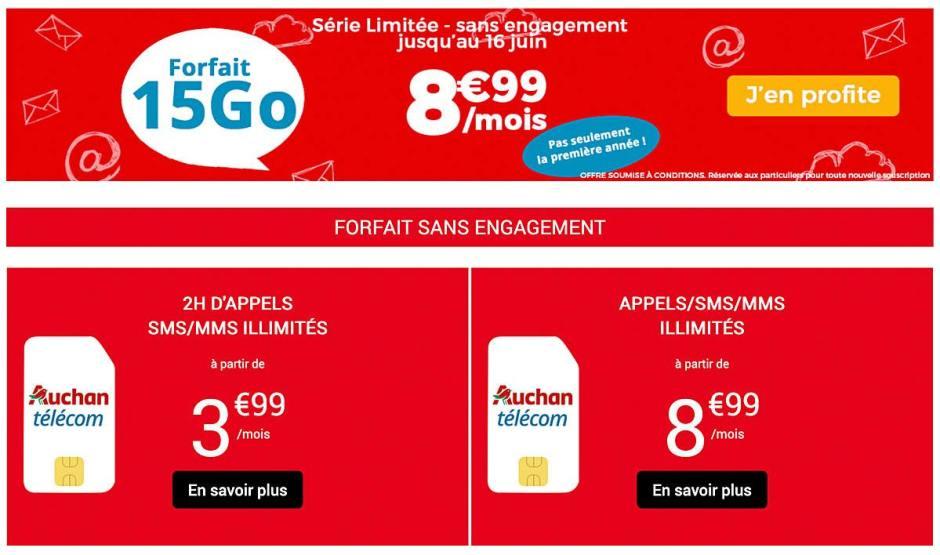 Chez Auchan Télécom, un forfait cédé à vie 8,99 euros avec 2Go de roaming...