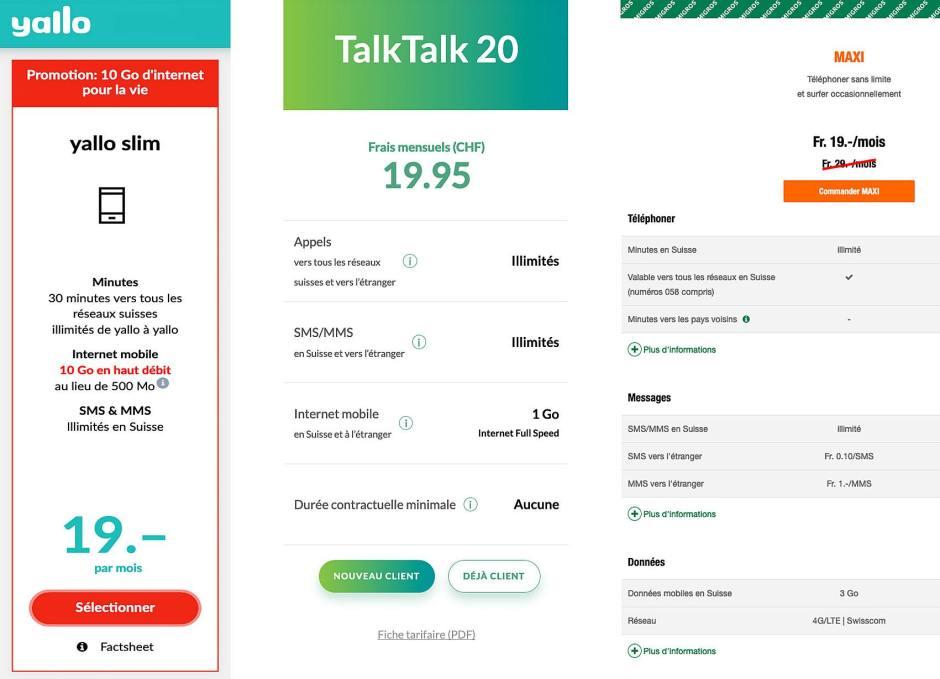 Le mobile pour moins de 20 francs chez Yallo, Talk-Talk et M-Budget.