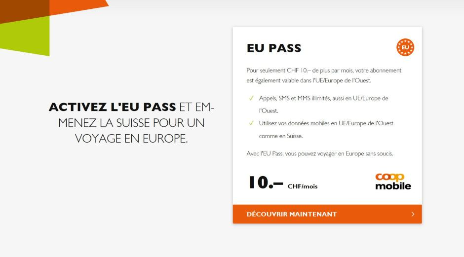 L'UE Pass de Coop Mobile à dix francs par mois.