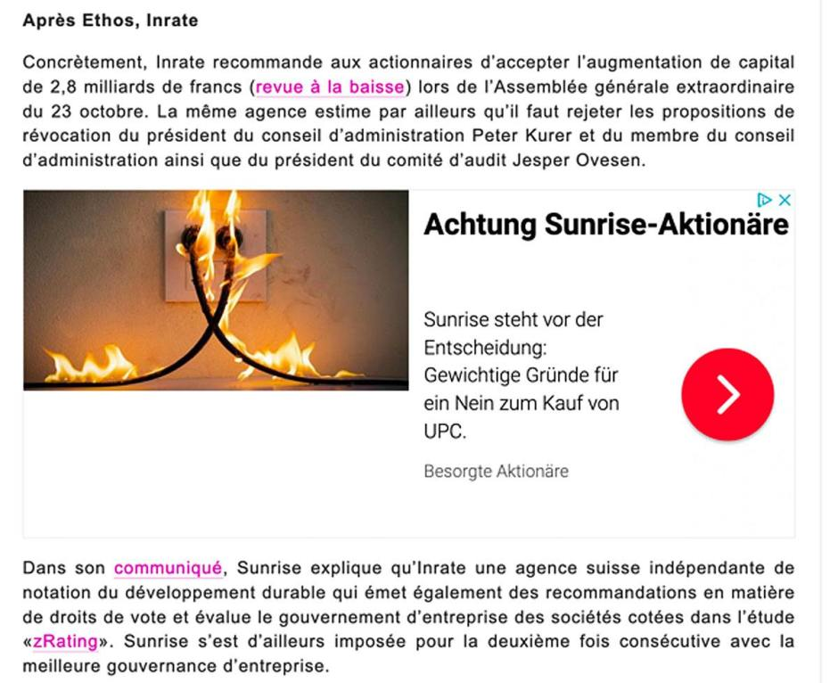 Capture d'écran de la campagne qui a tourné sur internet contre l'acquisition d'UPC par Sunrise.