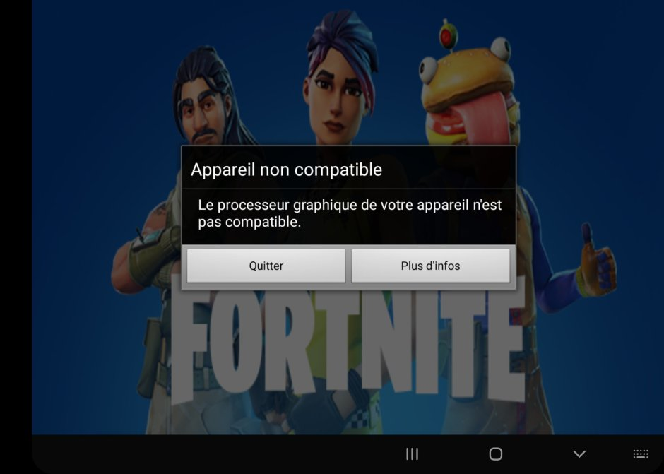 Impossible de lancer Fortnite sur le Samsung Galaxy Fold 5G.