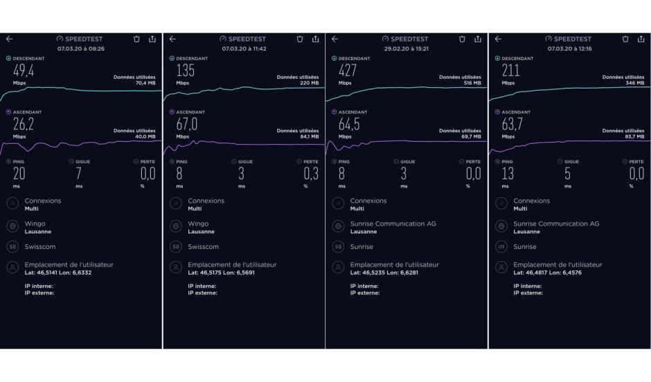 De gauche à droite. exemples de 5G Wide, 5G Fast, 5G Sunrise, 4G+ Sunrise.