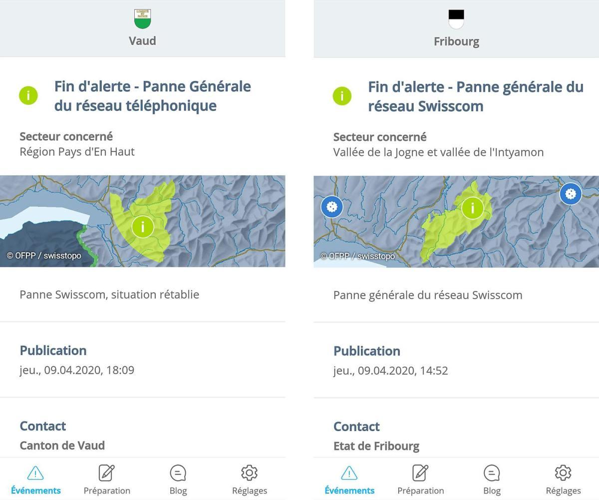 AlertSwiss permet de s'informer des pannes générales de Swisscom.
