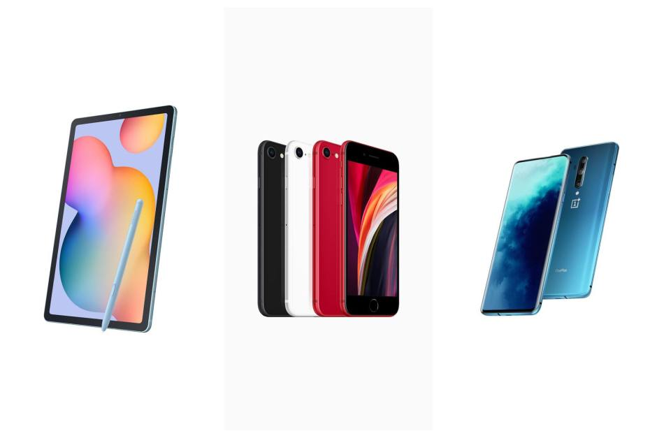 Apple iPhone SE, Samsung Galaxy Tab S6 Light et OnePlus 8 Pro.
