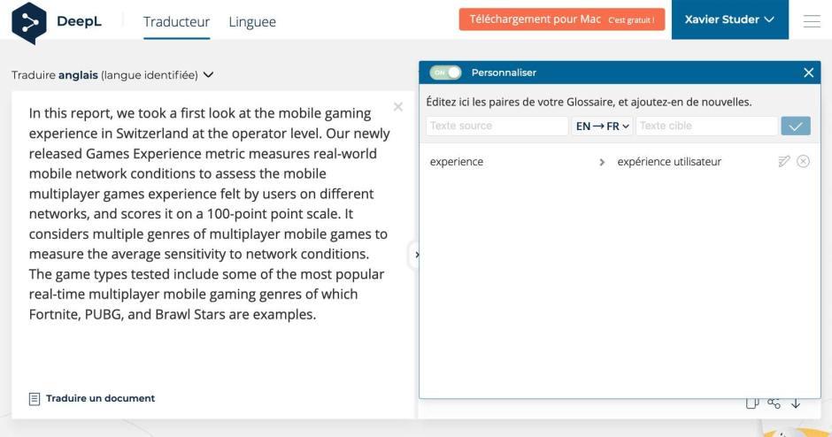 Le traducteur DeepL et sa nouvelle option Glossaire.