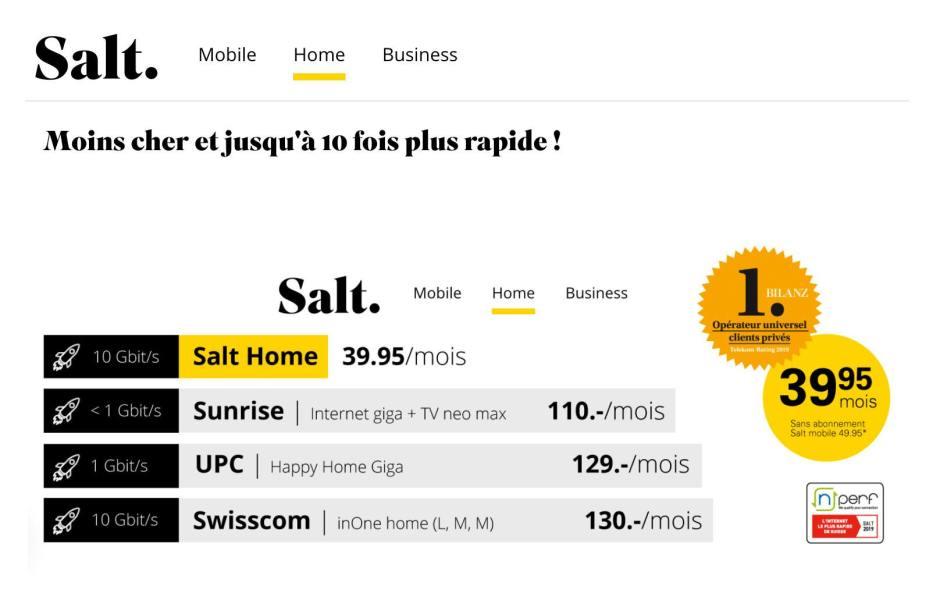 Salt Home: le meilleur rapport prestations/prix du marché.