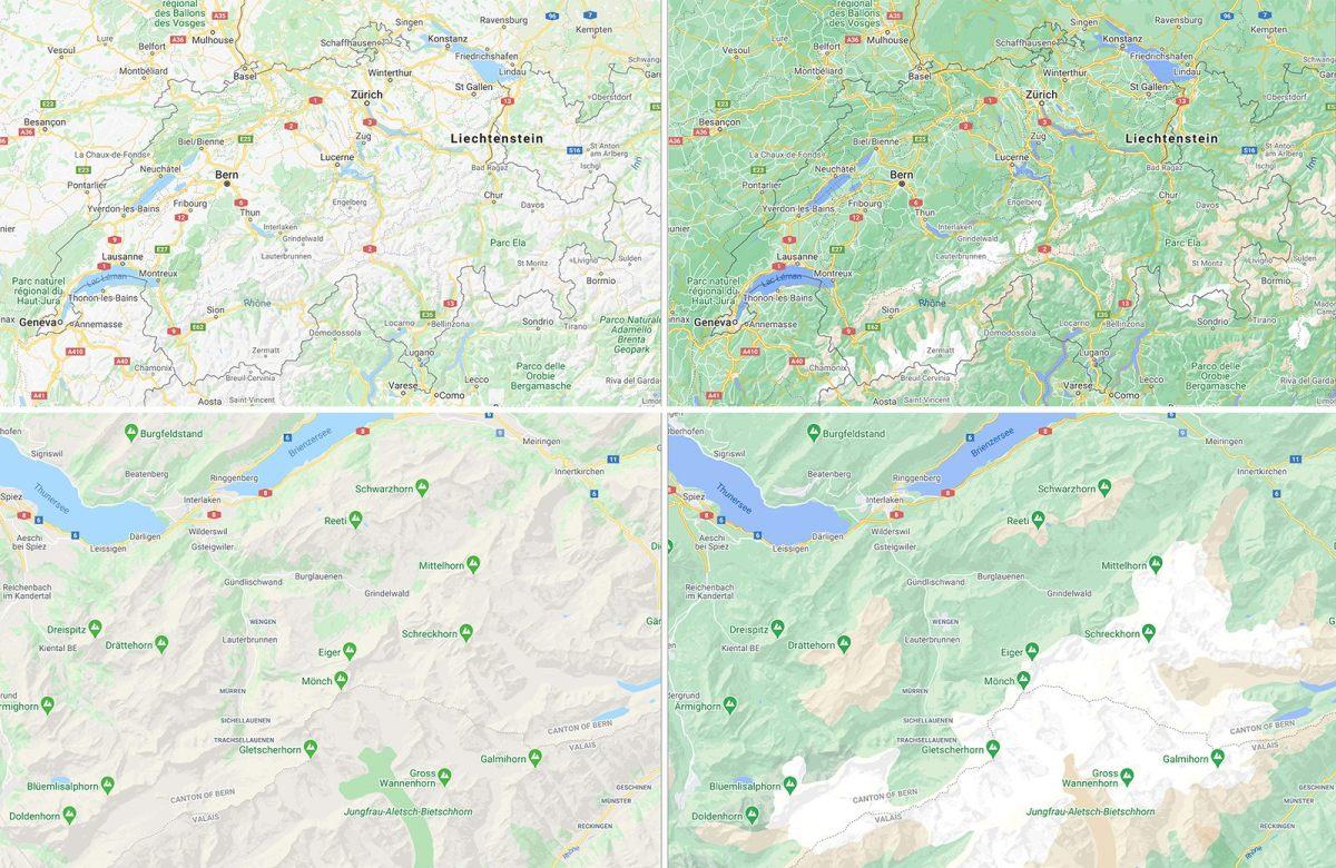 Avant/Après. Les cartes de Google pour la Suisse et la région Jungfrau-Aletsch.