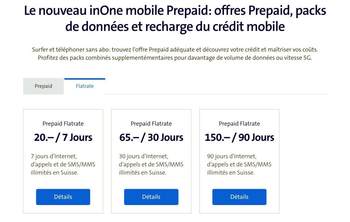 Les nouveaux tarifs inOne mobile Prepaid de Swisscom.