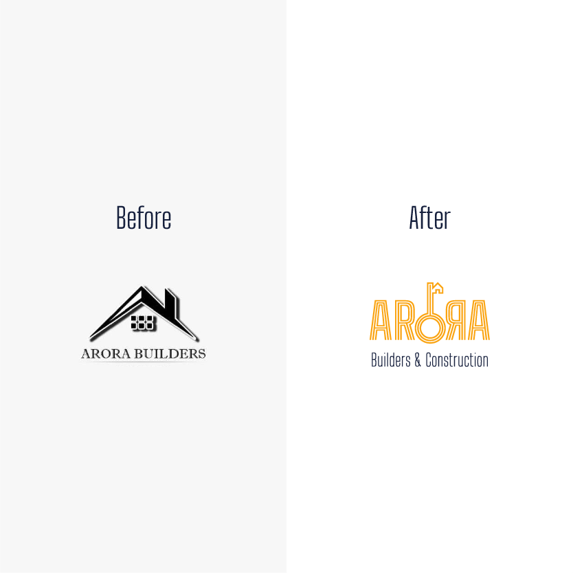 Arora logo before after