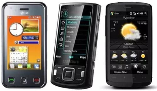 LG KC910 - Samsung i8510 - HTC Touch HD