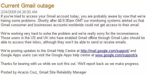 Current Gmail Outage - googleblog.blogspot.com