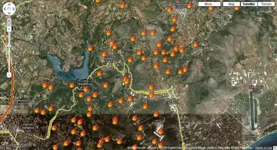 Google Maps Mashup για τις φωτιές