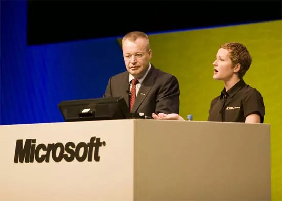 Stephen Elop, president of the Microsoft Business Division, and Julia White, director, Exchange Marketing, from TechEd Europe 2009