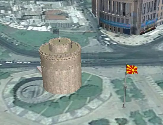 Google Earth, Σημαία των Σκοπίων δίπλα στο Λευκό Πύργο