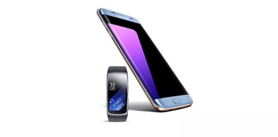 Samsung Galaxy S7 edge Blue Coral Gear Fit 2