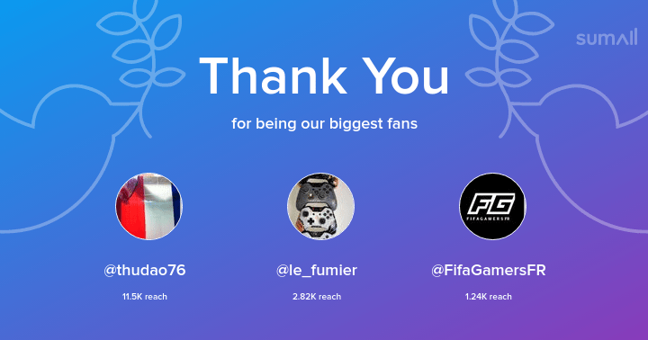 Our biggest fans this week: thudao76, le_fumier, FifaGamersFR. Thank you! via https://t.co/NBkUu2Uz1r pic.twitter.com/hjW8TCKdXL