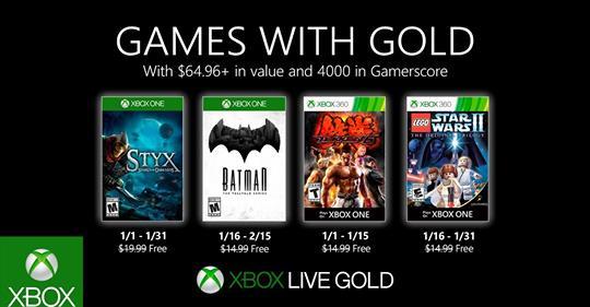 Microsoft dévoile avec beaucoup d'avance les jeux Games with Gold de janvier ! Styx: Shards of Darkness – janvier Batman…