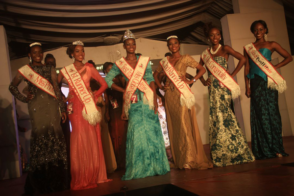 Stephainie Nmukoro (1st Runner-up), Aminat Okoya (2nd Runner-Up), Sandra Ebitonmo (3rd Runner-Up) and Abiola Awoderu (Miss Photogenic) 2014 Miss Global Nigeria