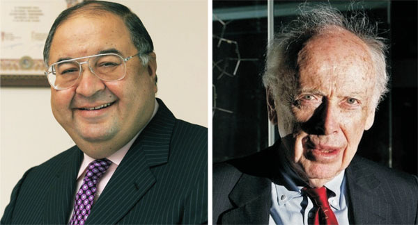 Generous Billionaire Alisher Usmanov and Infamous Biologist James Watson