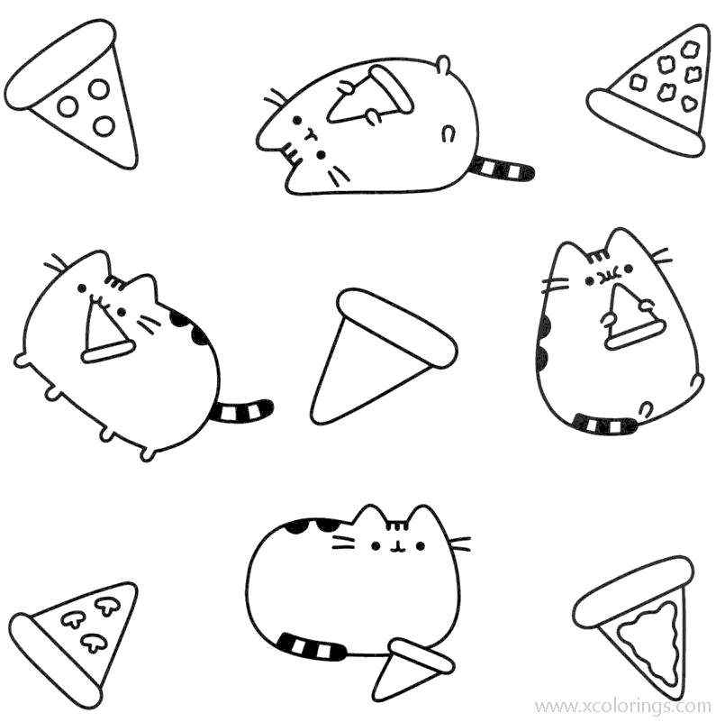 Pusheen Cat With Pizza Coloring Pages Xcolorings