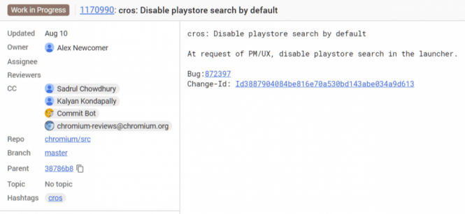 Chrome OS Play Store search