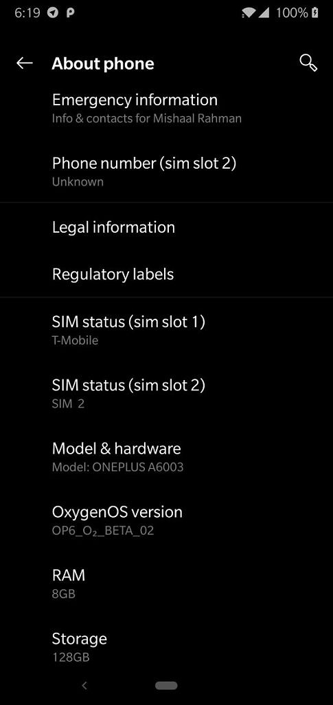 OnePlus 6 OxygenOS Open Beta 2