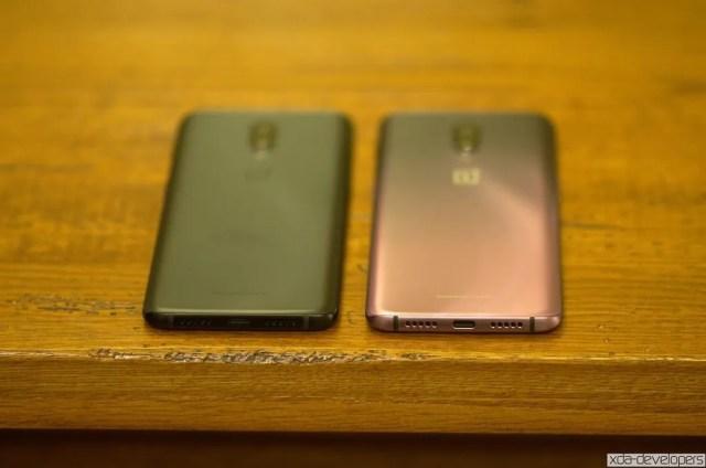 OnePlus 6T in Midnight Black next to Thunder Purple