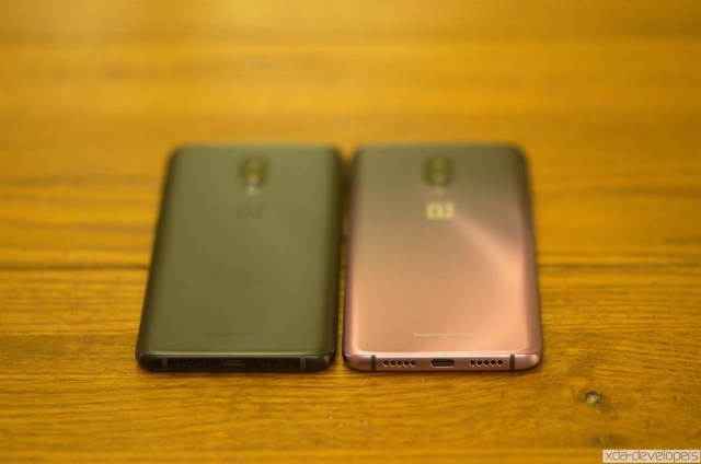 OnePlus 6T in Midnight Black next to Thunder Purple